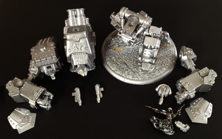My Khador Conquest: still missing its left shoulder and main guns...